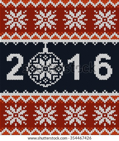 Christmas jumper fragment with 2016 New Year. Horizontal seamless knitted pattern. Knitted with Christmas ball and new year 2016 - stock vector