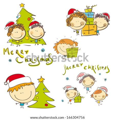Christmas kids with christmas tree and gifts. Vector set. - stock vector