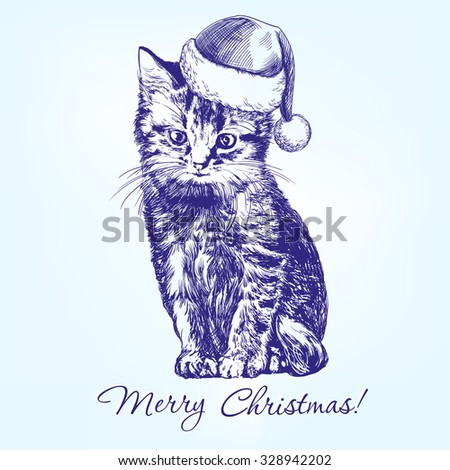 Christmas kitten in Santa stocking hat hand drawn vector llustration realistic sketch - stock vector