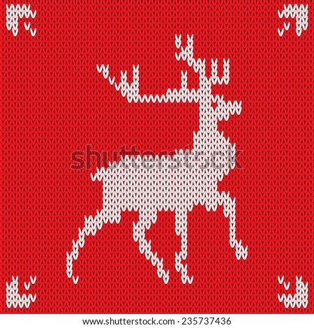 Christmas Knitted background with deer. Vector illustration. - stock vector