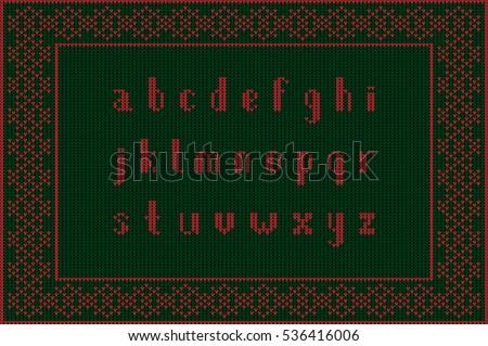 Christmas Knitted Font Latin Alphabet On Stock Vector 536416033 ...
