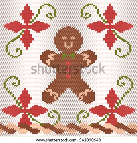 Christmas Knitted Texture Pattern Gingerbread Man Stock Vector Hd
