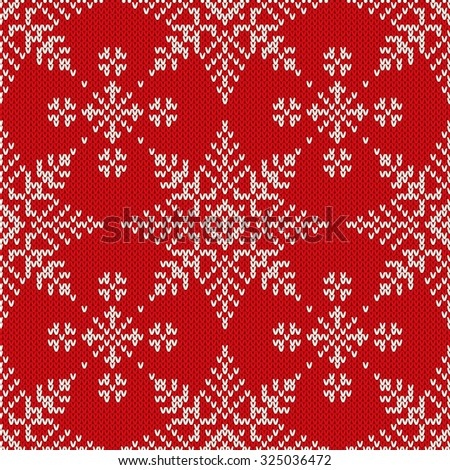 Christmas Knitting Seamless Pattern with Snowflakes - stock vector