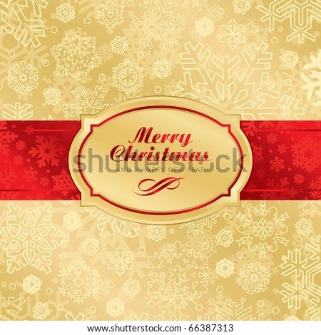 christmas label background, vector - stock vector