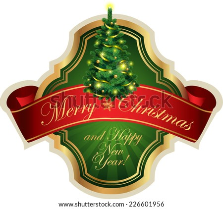 Christmas label for greeting cards, banners, presentations, decorations. Easy to edit all pieces are separated. - stock vector