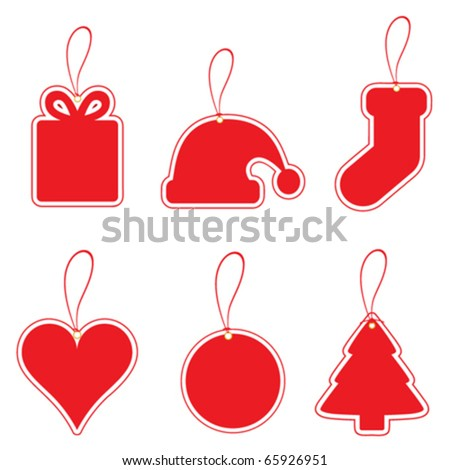 christmas label set - stock vector