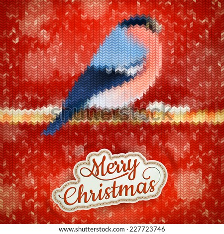Christmas label with Bullfinch on a knitted red backgroun. EPS 10 vector file included - stock vector