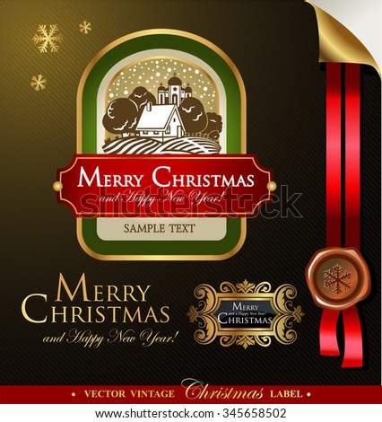 Christmas label with lovely winter landscape for greeting cards, banners, presentations, decorations. Easy to edit all pieces are separated.  - stock vector