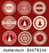 Christmas label with snowflake shape - stock