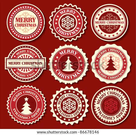 Christmas label with snowflake shape
