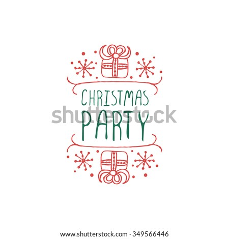 Christmas label with text on white background. Christmas party. Typographic element with gifts and snowflakes. Vector illustration for seasonal christmas design. Handdrawn christmas badge. - stock vector