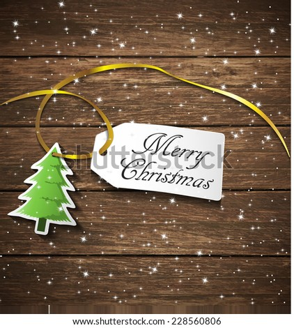 Christmas label, wood pattern. - stock vector