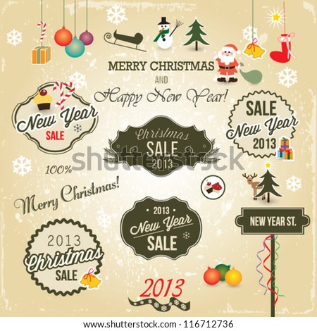 Christmas labels and icons: santa, snowman, snowflake, fur tree, bells.. - stock vector