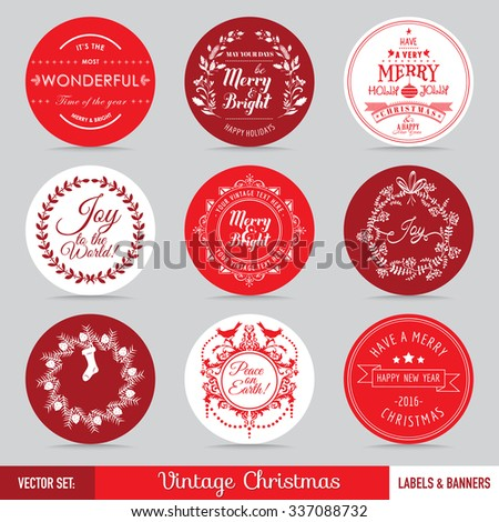 Christmas Labels, Banners and Tags Set - in vector - stock vector