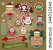 Christmas labels, icons elements collection - stock vector