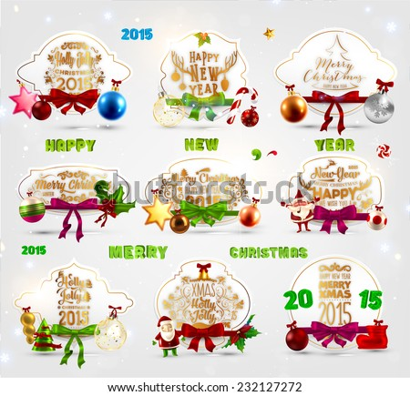 Christmas Labels Set for Xmas Greeting Cards Design. Holiday Elements with Christmas Balls. Snowflakes for Winter Decoration. - stock vector
