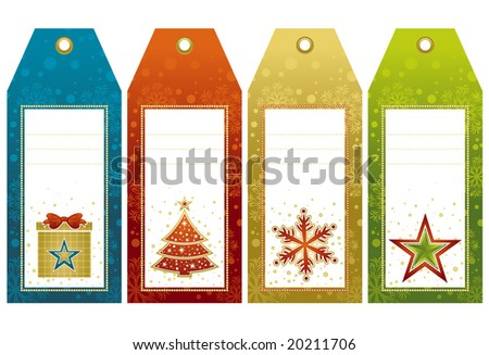 christmas  labels with holiday decoration, vector illustration