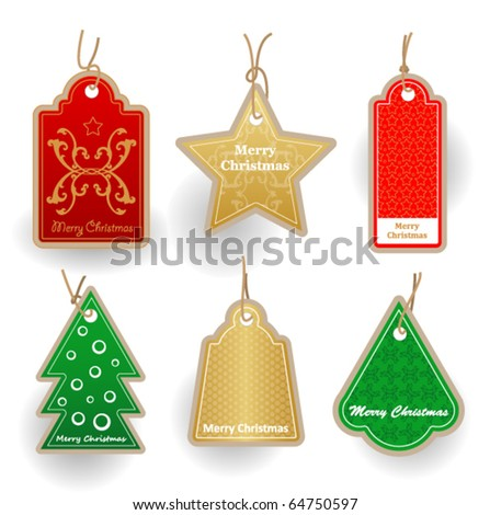 Christmas labes collection. Price tags. - stock vector