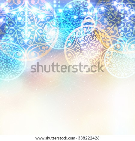 Christmas laced balls with lights bokeh. Vector winter magic background. Ice frosty pattern - stock vector