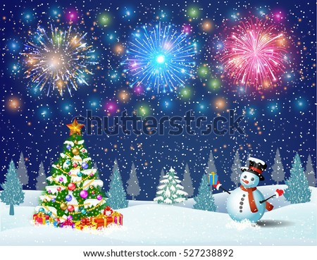 Christmas landscape at night. christmas tree and snowman. concept for greeting or postal card. fireworks in the sky
