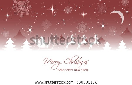 Christmas landscape, santa on sleigh with reindeer/moonscape, trees, snow, moon and stars/vector illustration.