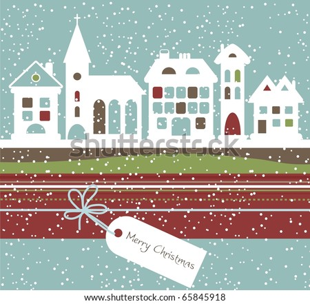 Christmas landscape, vector - stock vector