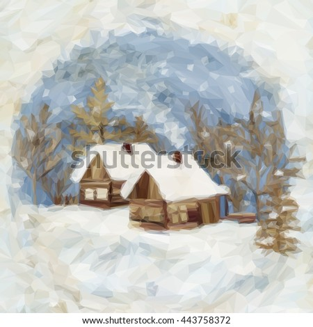 Christmas Landscape, Village Houses in the Winter Snowy Forest, Low Poly. Vector