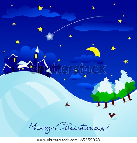 Christmas landscape with country star and comet, vector
