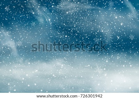 Christmas landscape with Falling  snow, snowflake. Holiday winter landscape background for Merry Christmas and Happy New Year. Vector illustration