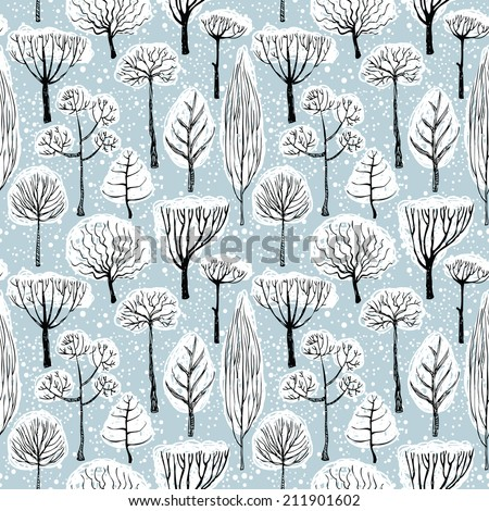 Christmas landscape with snow and trees, seamless pattern - stock vector