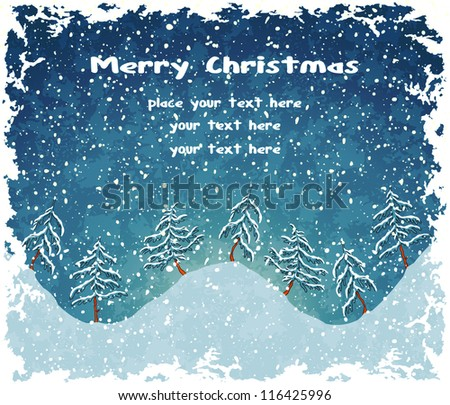 Christmas landscape with snowfall. Blue vintage background. Vector Illustration.
