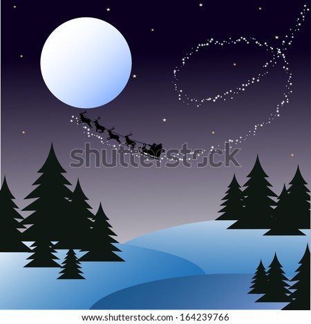 Christmas landscape with the moon. Santa Claus in a sleigh in flight. Stock - stock vector