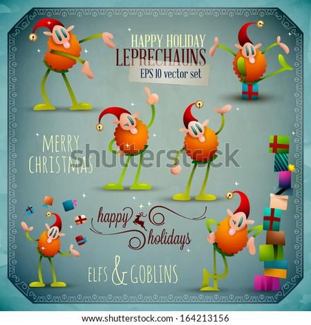 Christmas Leprechauns, Elf Goblin Vector Set | EPS10 - stock vector