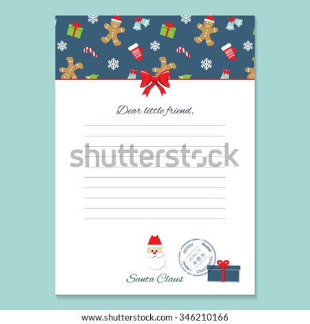 Christmas letter from Santa Claus template. Pattern with Gingerbread men and Mittens added in swatches. - stock vector