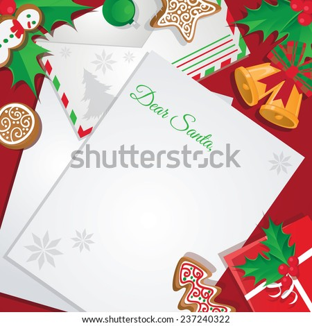 Christmas letter or card to Santa - stock vector