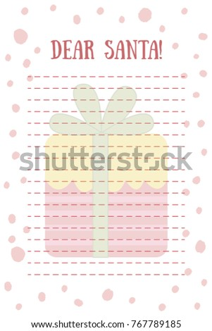 Christmas letter santa vector dear santa stock vector 767789185 christmas letter to santa vector dear santa claus letter with gift box on background spiritdancerdesigns Images