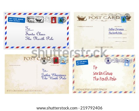 Christmas letters and postcards to Father Christmas  - stock vector