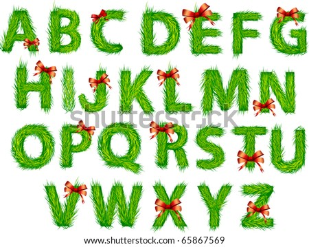 Christmas letters. Christmas tree brunches - stock vector