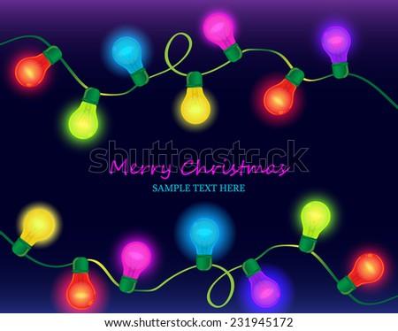 Christmas light on dark background - stock vector