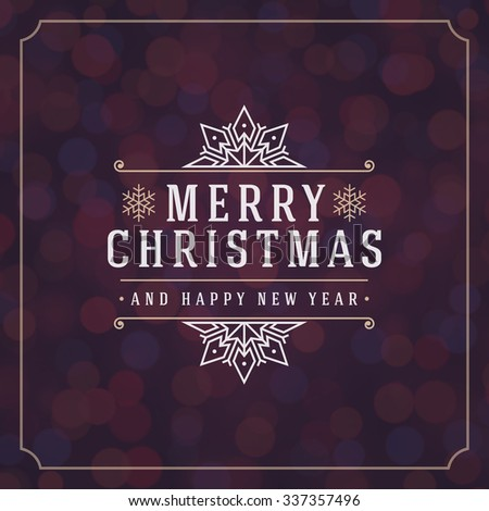 Christmas lights and typography label design vector background. Greeting card or invitation and holidays wishes.  - stock vector