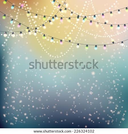 Christmas Lights Background. Vector illustration, eps10  - stock vector