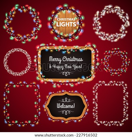 Christmas Lights Frames with a Copy Space Set4 for Celebratory Design. Used pattern brushes included. - stock vector