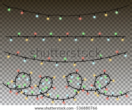 christmas lights vector set.
