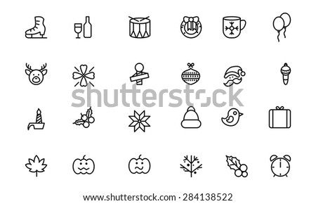 Christmas Line Vector Icons 4 - stock vector