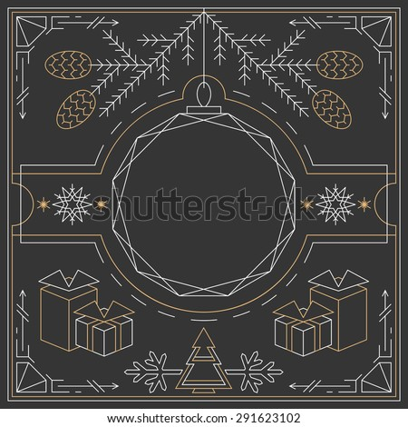 Christmas linear background, lineart postcard, hipster new year frame.  - stock vector