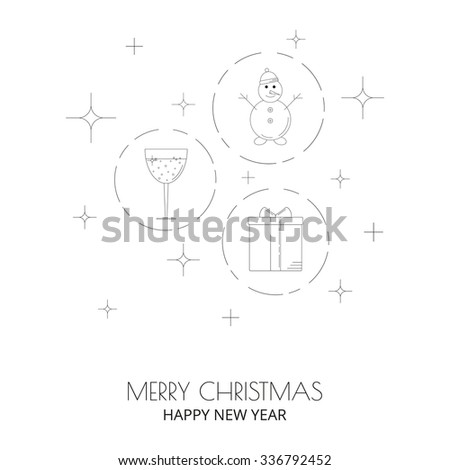 Christmas linear icons for web and mobile design. Snowman, glass of wine, present box.