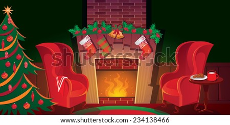 Christmas living room with fireplace and tree - stock vector