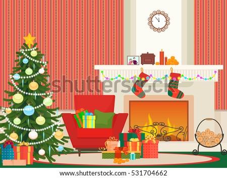 Christmas Livingroom Flat Interior Vector Illustration