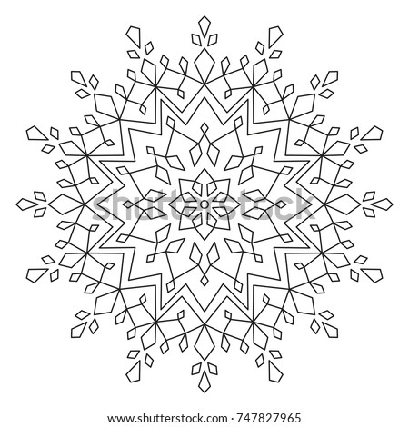 Snowflake Mandala Round Element For Coloring Book Black Lines On White