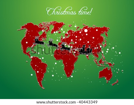 christmas map vector background - stock vector